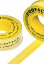 Лента ФУМ PROFACTOR (15м*19мм*0,25мм) желтая